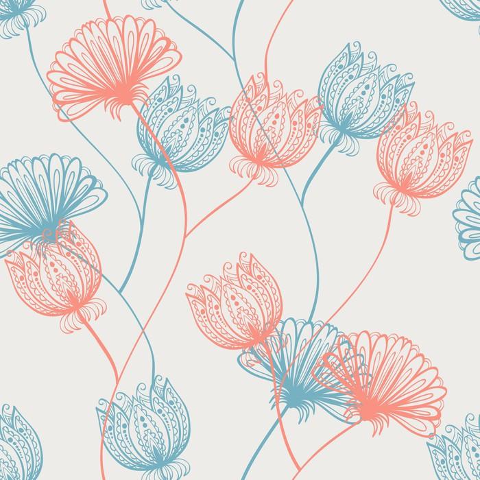 Vinylová Tapeta Seamless ručně malovaná růžové a červené vintage vzor s květinami - Pozadí