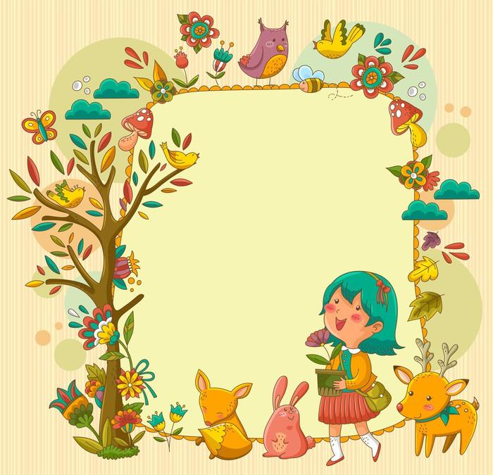 Cuadro en lienzo enmarcar con una chica animales y plantas pixers vivimos para cambiar - Enmarcar lienzo ...