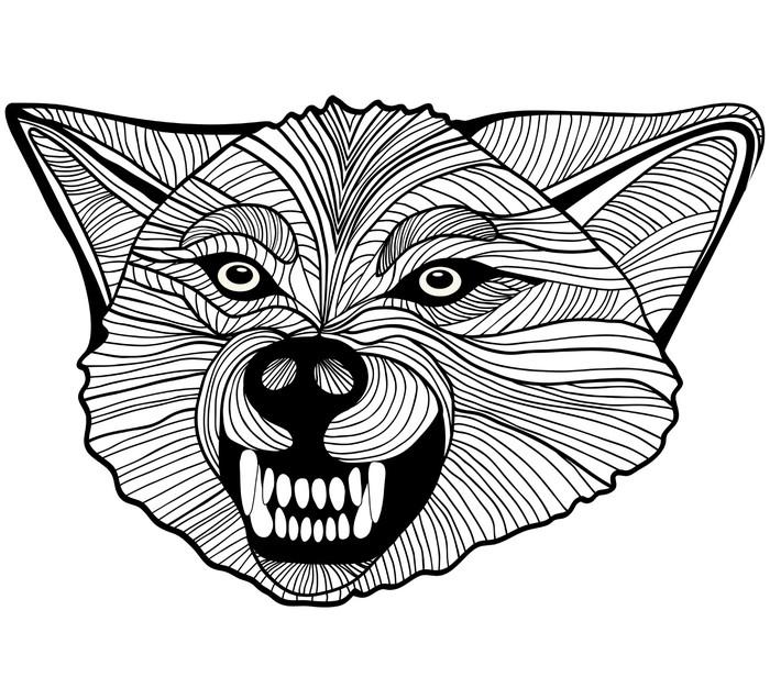 Pixerstick Aufkleber Wilder Wolf. Vector Graphics - Tiere