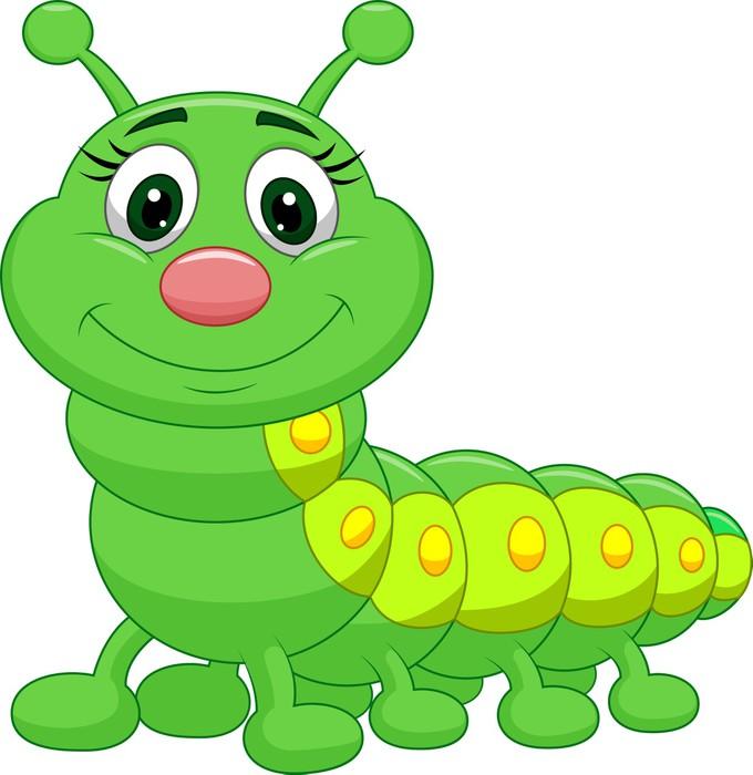 Fotomural cute dibujos animados oruga verde pixers