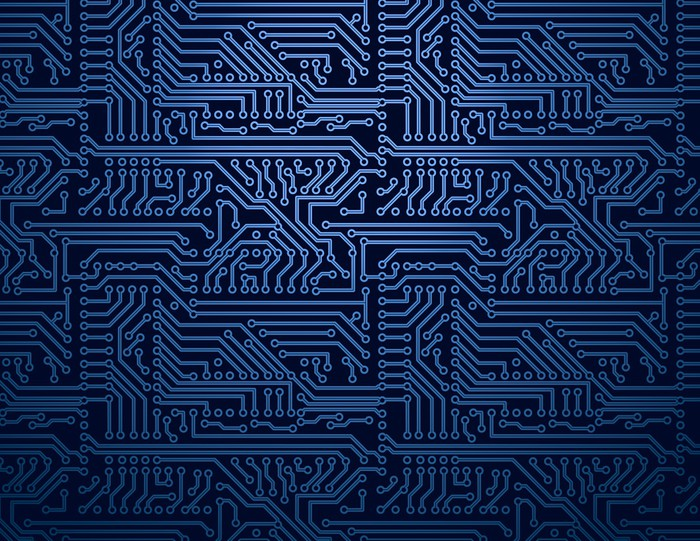 Vector blue circuit board background Wall Mural • Pixers® • We live ...