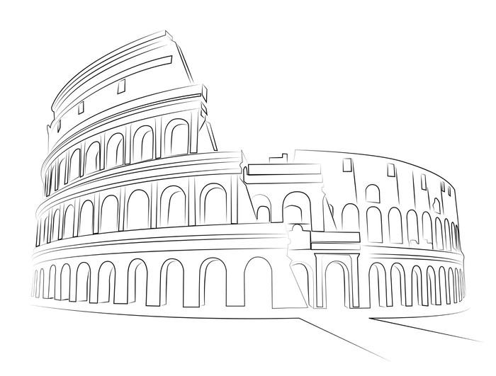 Carta da parati colosseo roma disegno vettoriale for Carta da parati roma