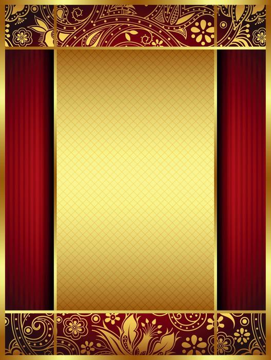 papier peint cadre or et rouge floral pixers nous vivons pour changer. Black Bedroom Furniture Sets. Home Design Ideas