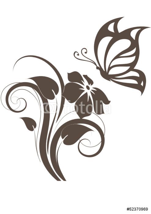 Vinylová Tapeta Floral konstrukční prvek s motýl - Národní svátky