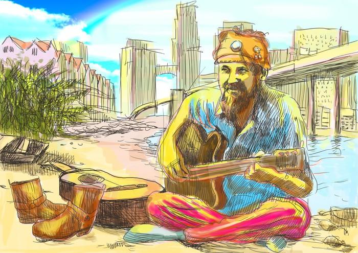 papier peint barbu hippie jouer de la guitare dessin. Black Bedroom Furniture Sets. Home Design Ideas