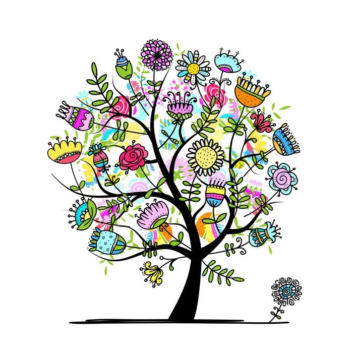 Poster croquis d 39 arbre floral pour votre conception - Croquis arbre ...