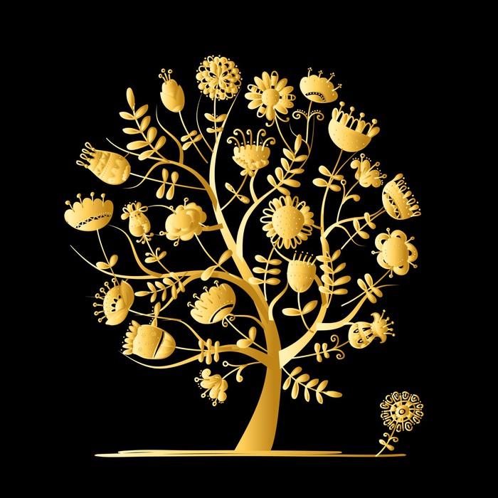 Vinylová Tapeta Zlatý strom s květinami pro svůj design - Prvky podnikání