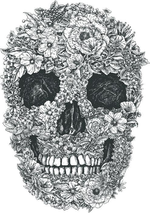 Nálepka Pixerstick Flower Skull Vector - Životní styl