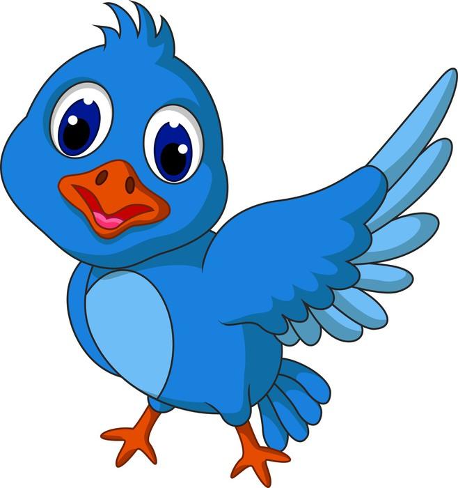 Fototapete Lustige Comic-blaue Vogel posiert • Pixers® - Wir leben ...