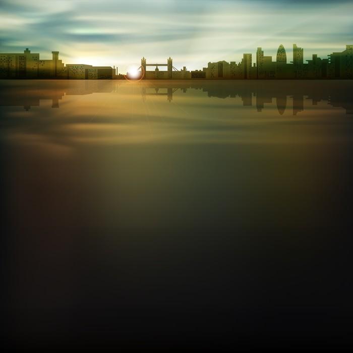 Vinylová Tapeta Abstraktní pozadí se siluetou města - Pozadí