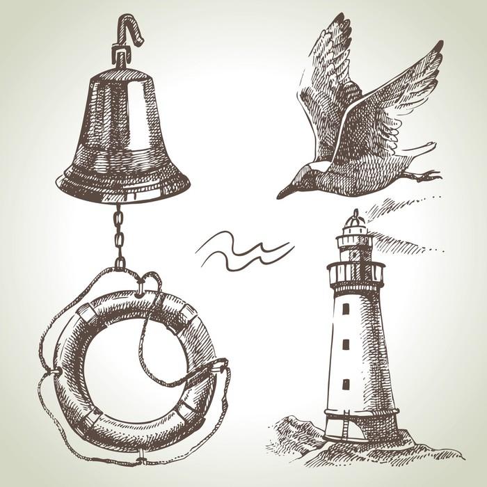 Vinylová Tapeta Sea Sada prvků námořních návrhu. Ručně malovaná ilustrace - Doplňky a věci