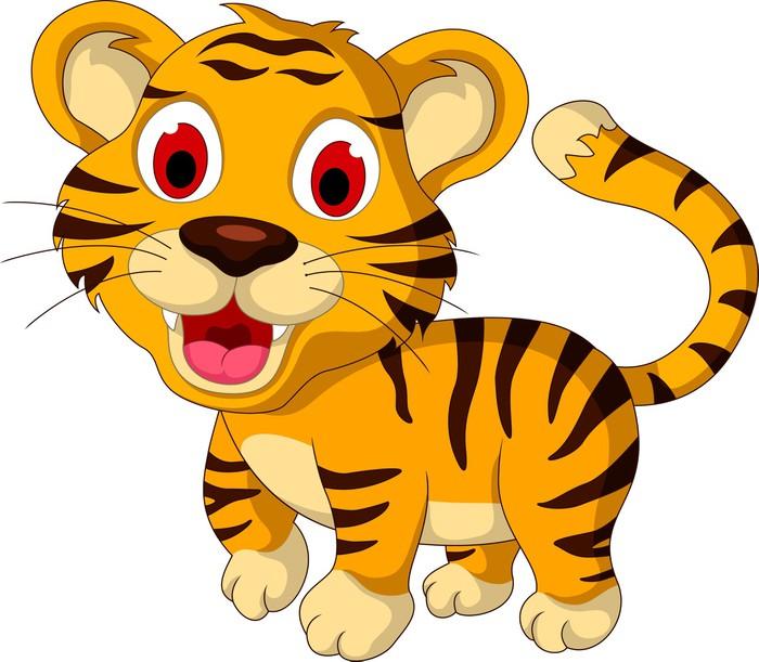 Vinylová Tapeta Cute baby tiger walking - Nálepka na stěny