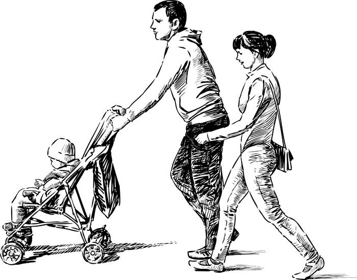 Vinylová Tapeta Mladá rodina s dítětem - Rodinný život