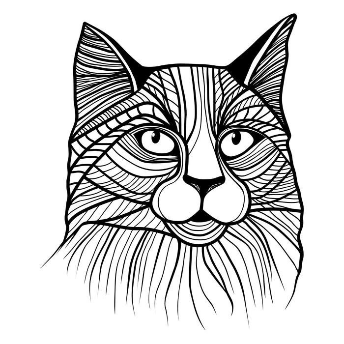 Vinylová Tapeta Vektorové ilustrace kočičí hlavy - Styly