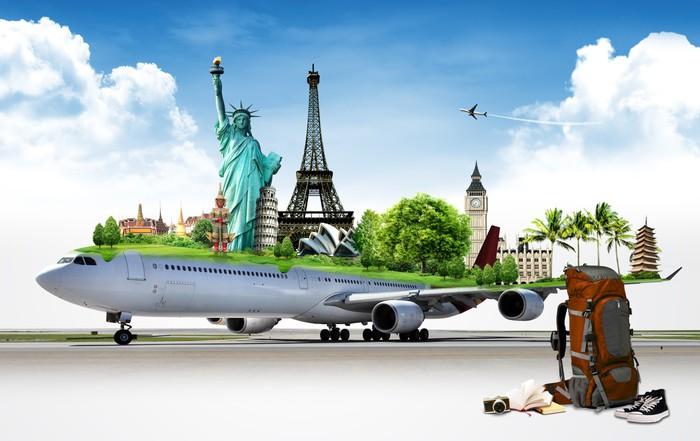 Vinylová Tapeta Cestovat po světě letadlem, koncept - Prázdniny