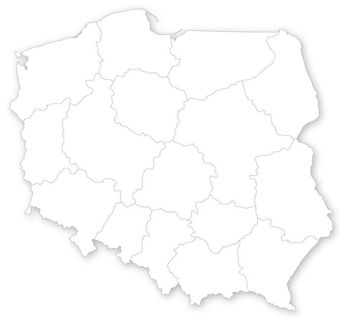 Leinwandbild einfache karte von polen mit woiwodschaften for Einfache leinwandbilder