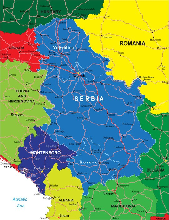 montenegro karta Serbia and Montenegro map Wall Mural • Pixers® • We live to change montenegro karta
