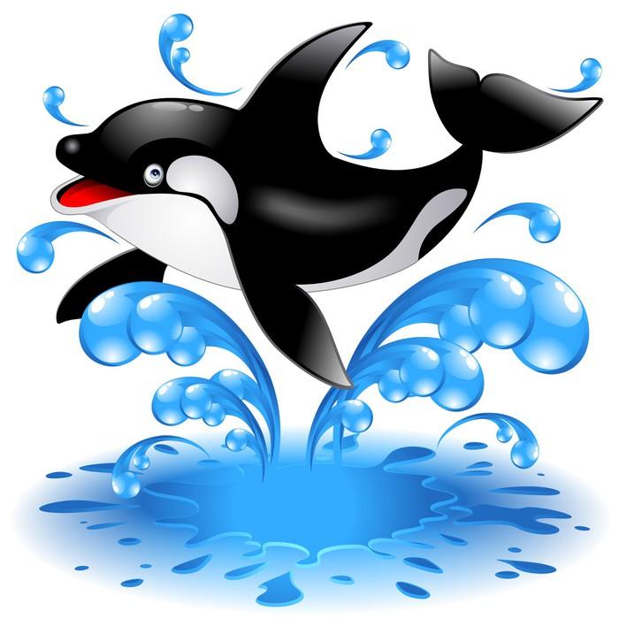 Orca Whale Cartoon Happy Jumping K...