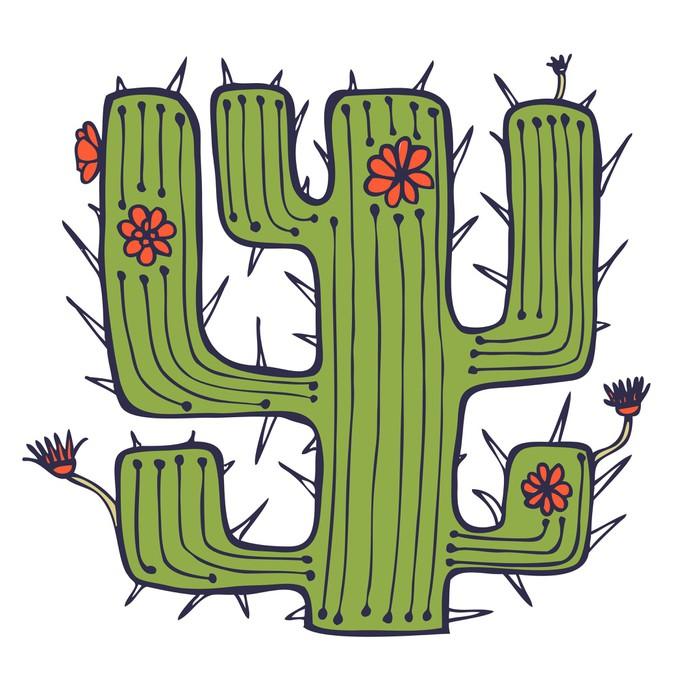 papier peint cactus dessin e isol avec des fleurs et des. Black Bedroom Furniture Sets. Home Design Ideas