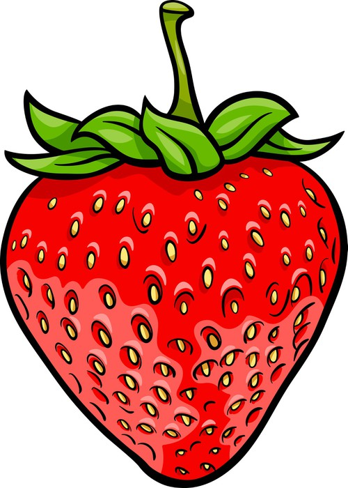 vinilo pixerstick ilustración de dibujos animados de frutas de fresa