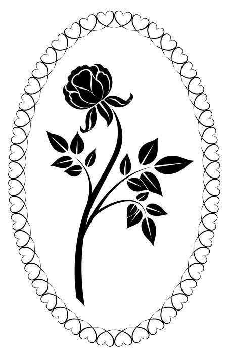 sticker noir et blanc dessin rose illustration vectorielle pixers nous vivons pour changer. Black Bedroom Furniture Sets. Home Design Ideas