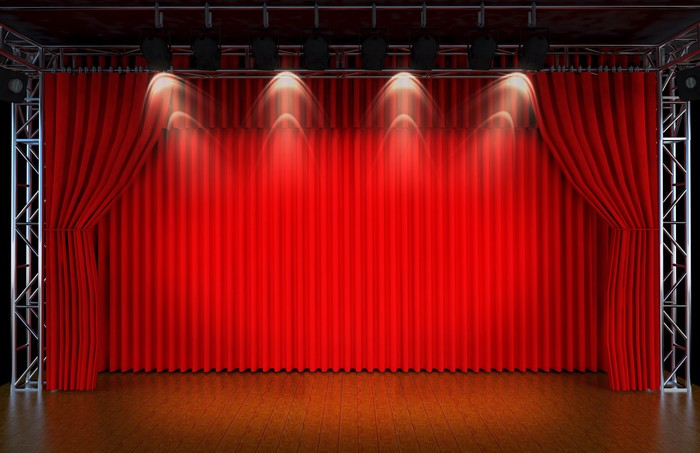 Theater Stage With Red Curtains And Spotlights Theatr