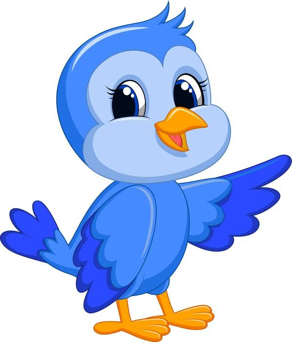 Aufkleber Netter blauer Vogel-Cartoon • Pixers® - Wir leben, um zu ...