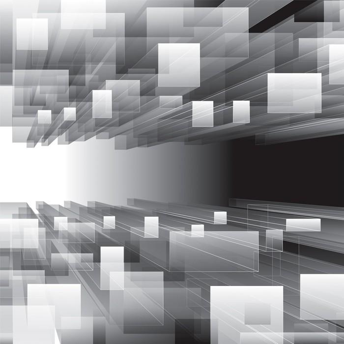 Vinylová Tapeta Abstrakt ve stupních šedi virtuální Perspektiva pozadí. - Abstraktní