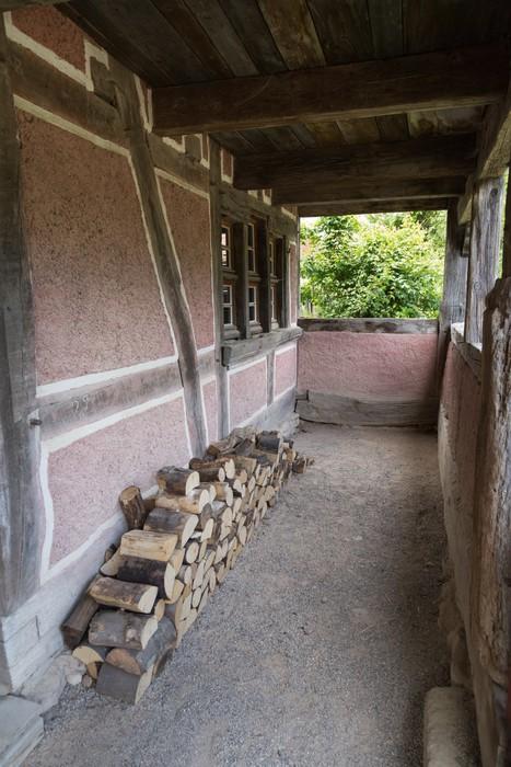 Vinylová Tapeta Terrasse d'une maison ancienne et akciové de Bois - Prázdniny