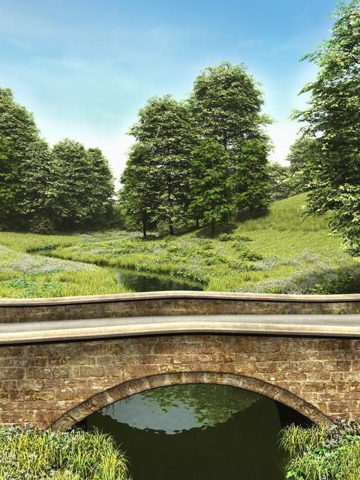 Vinylová Tapeta Most přes řeku louky - Roční období