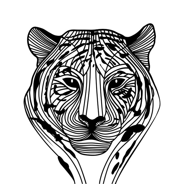 Pixerstick Aufkleber Tiger-Kopf-Silhouette, Vektor - Wandtattoo