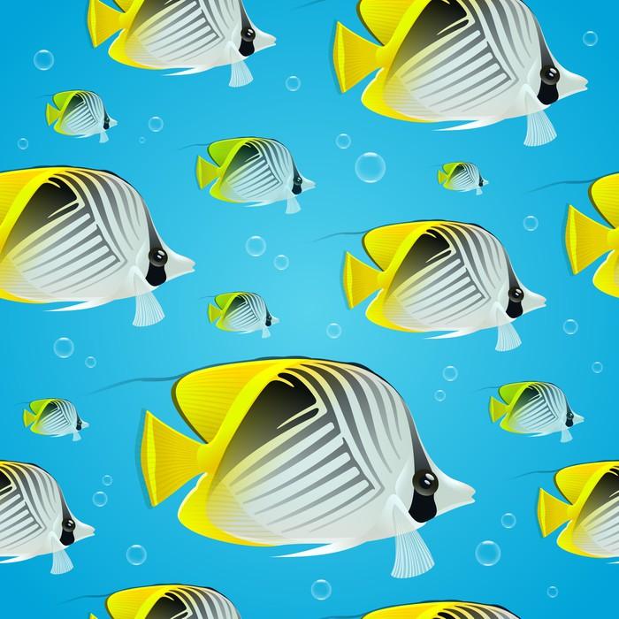 Vinylová Tapeta Bezešvé pozadí - tropické butterflyfishes - Pozadí