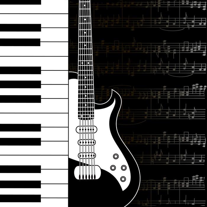 Vinylová Tapeta Hudební pozadí s klávesnicí, kytaru a stave poznámky - Témata