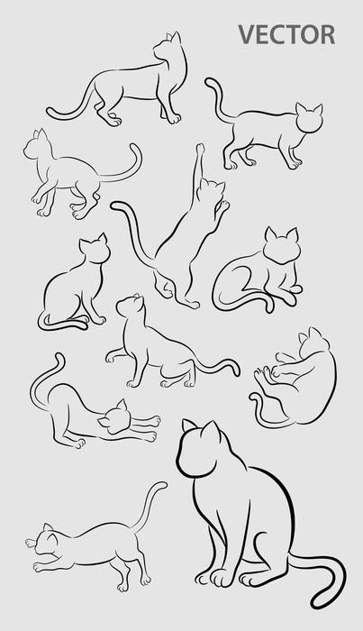 Vinylová Tapeta Cat Gesture Sketches - Umění a tvorba