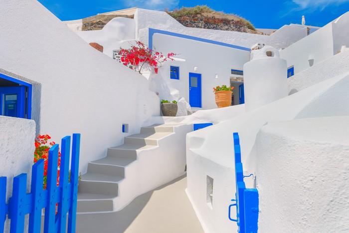 Vinylová Tapeta Řecko ostrov Santorini v Cyclades, tradiční pohled na bílé w - Evropa
