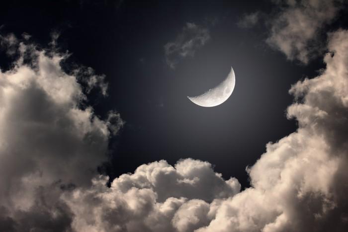 Vinylová Tapeta Noční oblohy s měsícem a mraky - Témata