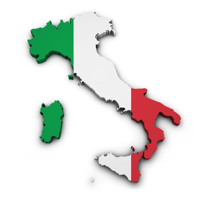 Papel de Parede em Vinil Italy Map Flag Shape - Europa