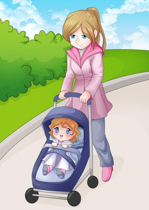 Vinylová Tapeta Ilustrace matka procházky v parku s dítětem - Témata
