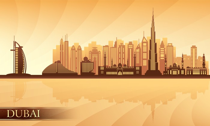 Vinylová Tapeta Dubaj panorama města - Asie