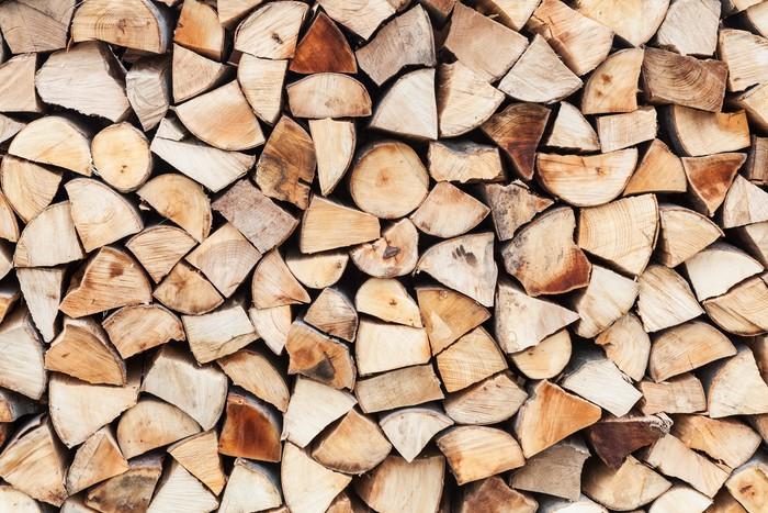 Vinylová Tapeta Uspořádání nasekané dřevo připraveny a skladovány - Zemědělství