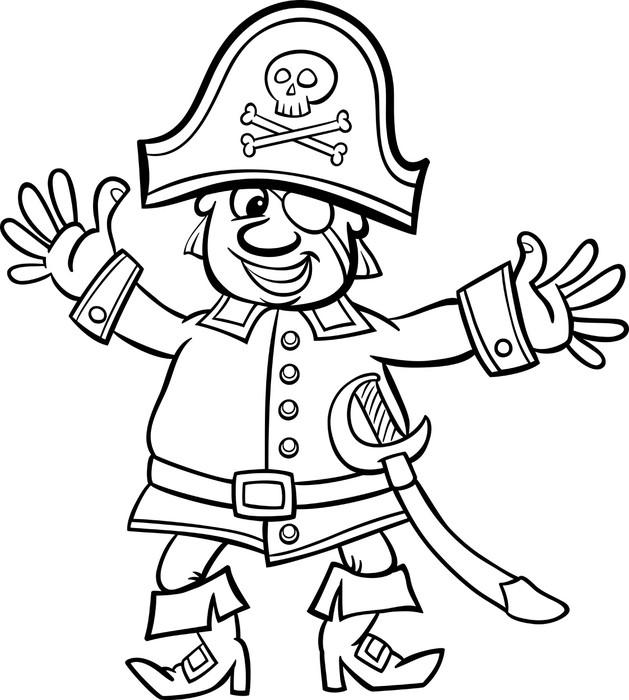 Vinilo Pixerstick El capitán pirata de la historieta para libro para ...