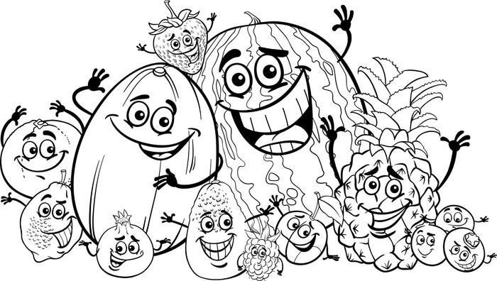 Funny Fruits Cartoon For Coloring Book Vinyl Wall Mural