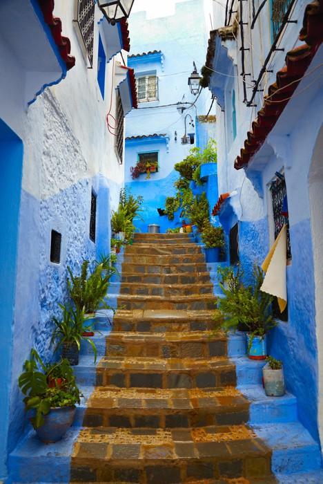 Sticker Pixerstick A l'intérieur du Maroc bleu ville médina de Chefchaouen - Thèmes