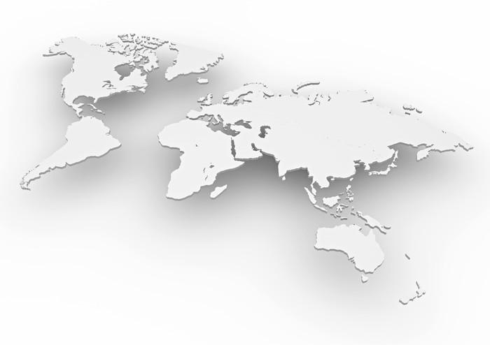 Carta da parati planisfero mondo 3d bianco cartina for Carta da parati cartina geografica
