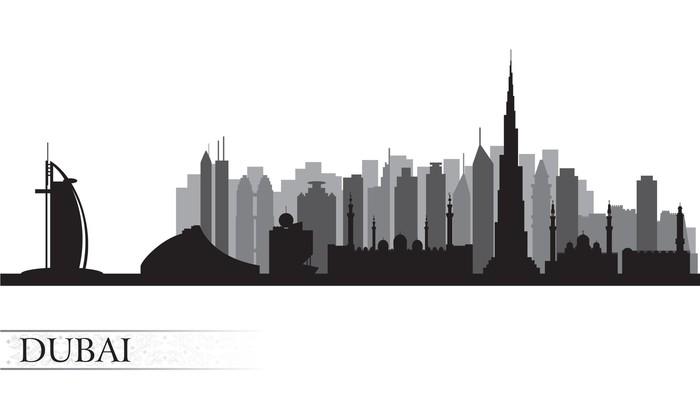 Vinilo Pixerstick Dubai horizonte de la ciudad silueta • Pixers ...