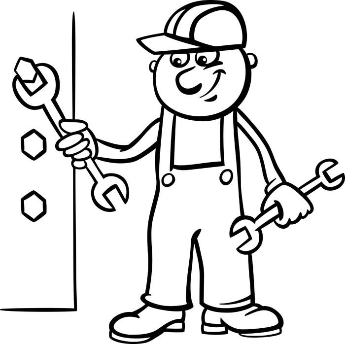 Fototapete Arbeiter mit Schraubenschlüssel Malvorlagen • Pixers ...