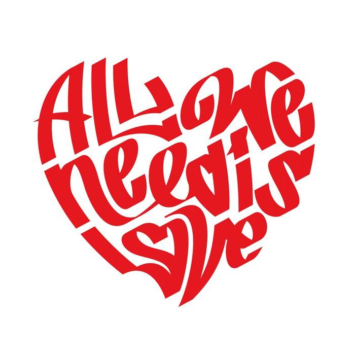 Sticker Pixerstick Typographie du coeur. Tous nous avons besoin est amour. Graffiti. Calligraphie. - Destin