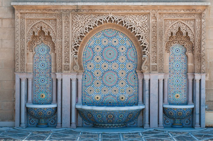 Moroccan tiled fountains Wall Mural Pixers We live to change