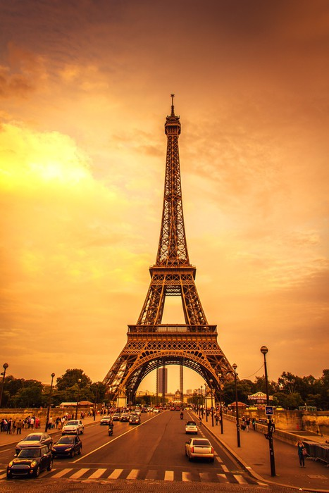 Sunset in the Eiffel Tower Wall Mural Pixers We live to change