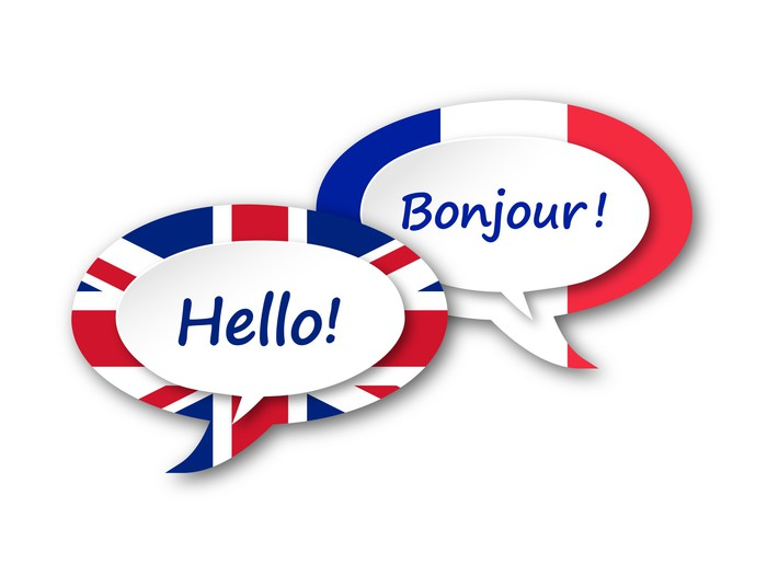 English French Translation Language Speech Bubbles Balloons Door